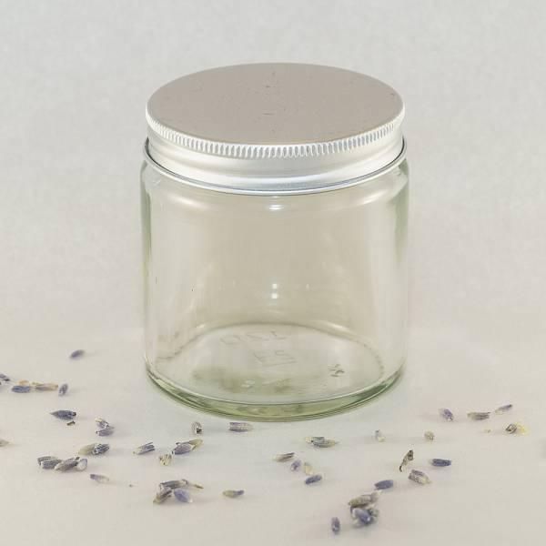 Steklen lonček s srebrnim pokrovom, 100 ml