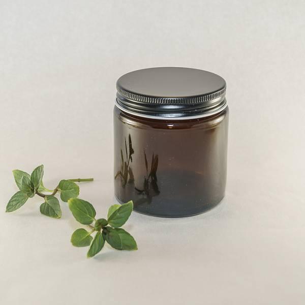 Steklen lonček s črnim pokrovom, 100 ml